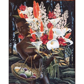 """Late 20th Century """"African Youth with Gourds and Flowers"""" Portrait Tempera Painting by Stuart Armfield For Sale"""