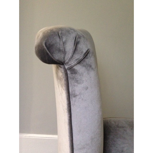 Mariete Himes Gomez Skirted Slipper Chair & Profiles Nyc Black Gesso Scallop Shell Mirror - Image 6 of 8