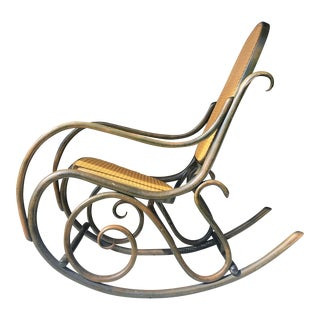 Thonet Style Green Rocking Chair For Sale