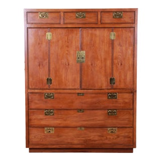 Henredon Campaign Style Oak Gentleman's Chest For Sale