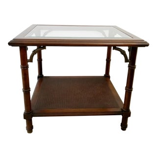 Vintage Faux Bamboo Chippendale Glass and Cane End Table by Lane Furniture For Sale