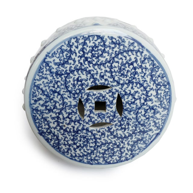 Asian Blue & White Ceramic Garden Stool For Sale - Image 3 of 5