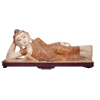 Carved Quartz Figure of Reclining Buddha