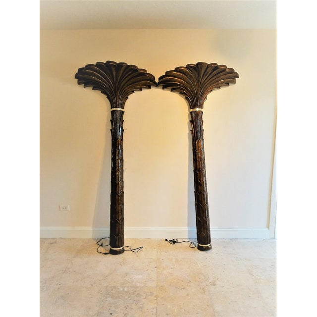 1970s Vintage Merle Edelman Palm Tree Torchieres - a Pair For Sale - Image 11 of 11