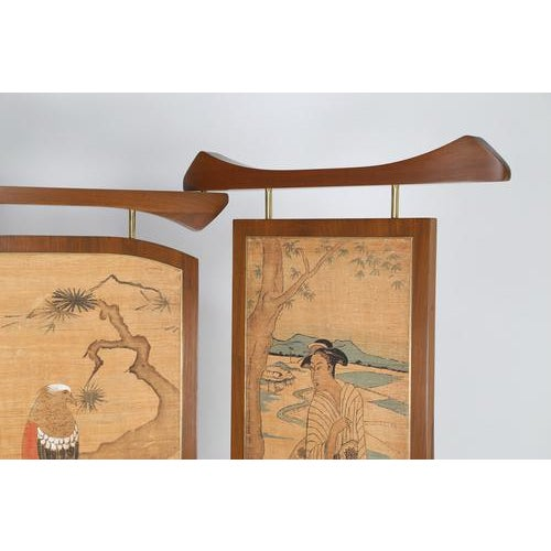 1950s 1950's VINTAGE FRANK KYLE THREE-PANEL WALNUT SCREEN For Sale - Image 5 of 6