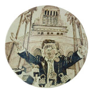 Contemporary Political Ceramic Plate by Marilyn Andrews 1990 For Sale