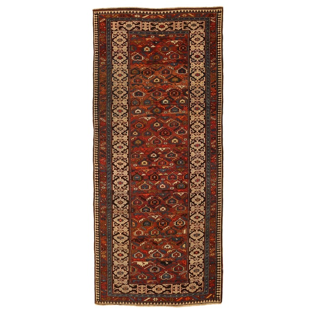 Antique Persian Rug Shirvan Design With Dainty Heart-Shaped Patterns Circa 1930's - 4′2″ × 9′8″ For Sale
