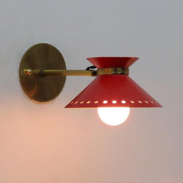 Pair of Red Arlus Wall Lights, 1950s For Sale - Image 10 of 11