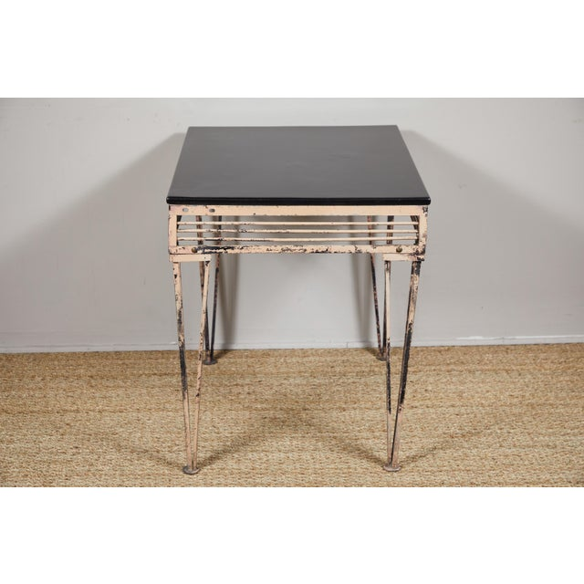 Black Vintage Iron Table With Black Wood Top For Sale - Image 8 of 9