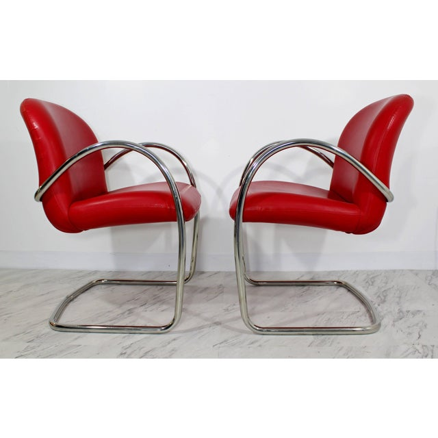 1980s Mid-Century Modern Brueton Red Leather Dining Armchairs - Set of 6 For Sale In Detroit - Image 6 of 10