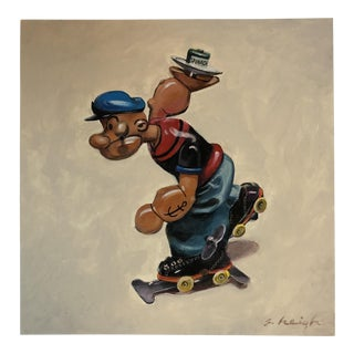 Original Contemporary Illustrator Stephen Heigh Popeye Toy Painting For Sale