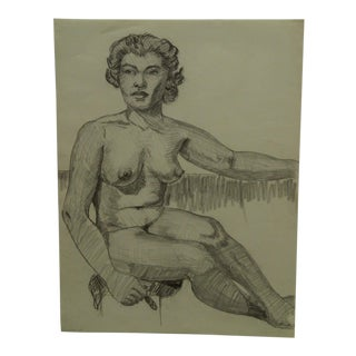 """1957 Mid-Century Modern Original Drawing on Paper, """"Black Woman Sitting Nude"""" by Tom Sturges Jr. For Sale"""