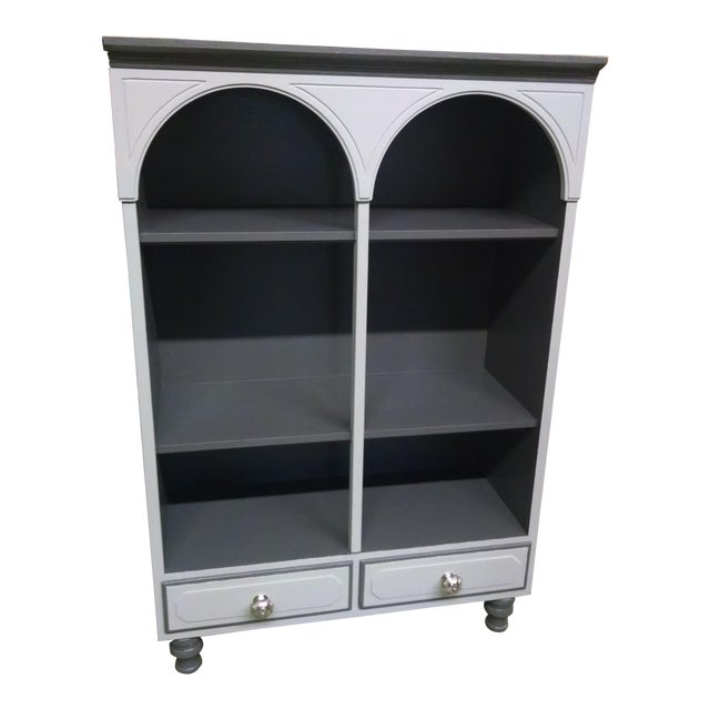 Vintage Grey & Pale Green Bookcase - Image 1 of 5