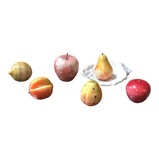 Mid-Century Marble and Onyx Fruit Set With Porcelain Hand Base - Set of 7