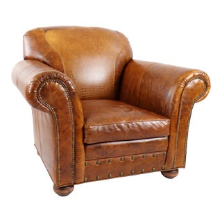 Old Hickory Tannery Leather Arm Chair For Sale