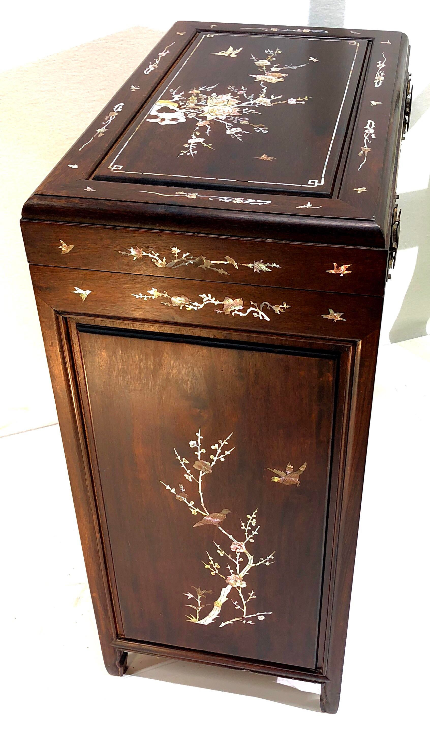 Chinoiserie Rosewood U0026 Mother Of Pearl Silverware/Flatware Cabinet/