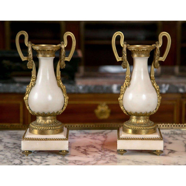 French Alabaster and Bronze Urns - A Pair For Sale - Image 4 of 4
