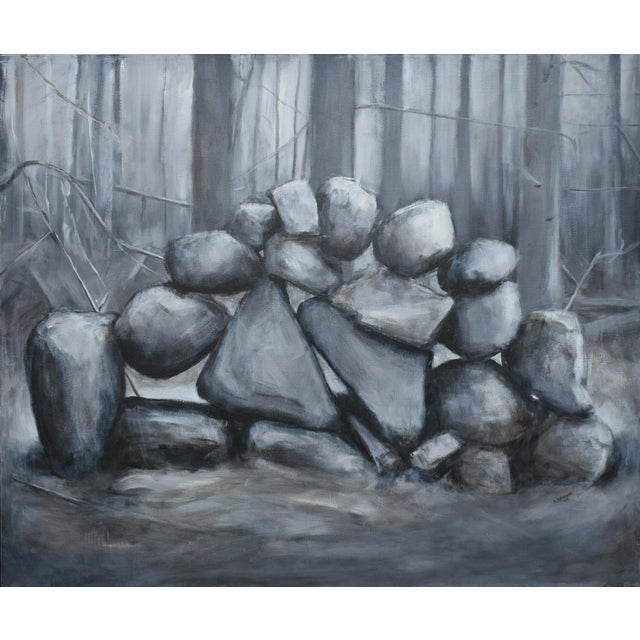 """Sculptural Stone Wall"", Contemporary Large Painting by Stephen Remick For Sale - Image 13 of 13"