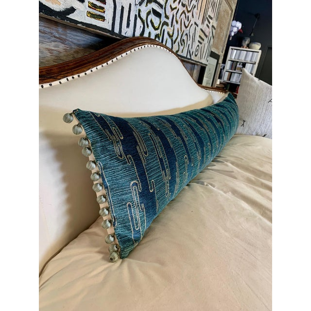 Feather Sora Velvet Lumbar Pillow With Ivory Silk Back For Sale - Image 7 of 10