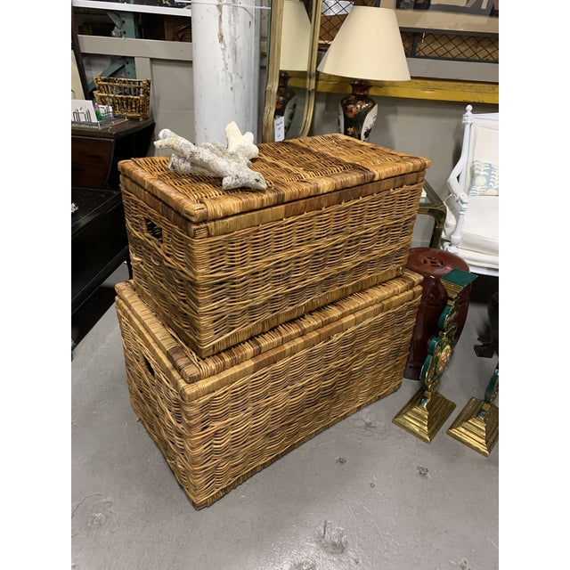 1970s Vintage French Wicker and Leather Trunks Chests- a Pair For Sale - Image 5 of 5