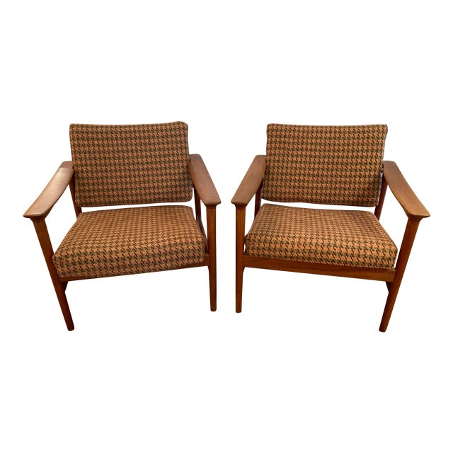 Danish Mid Century Modern Teak and Upholstered Club Chairs- A Pair For Sale