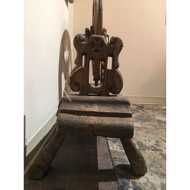 Antique Pine Spinning Wheel For Sale In Denver - Image 6 of 13
