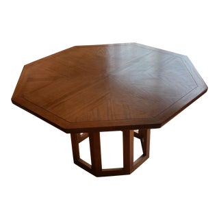 Mid-Century Modern Octagonal Cage Pedestal Dining Table For Sale