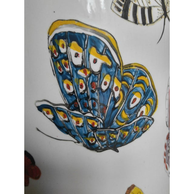 Butterfly Handpainted Ceramic Umbrella Stand For Sale In Charleston - Image 6 of 9