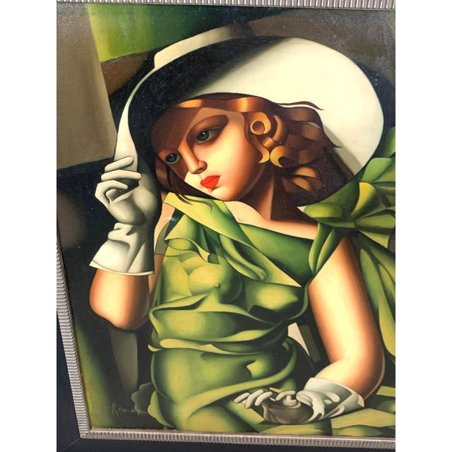 Young Lady With Gloves, After Tamara De Lempicka For Sale - Image 4 of 10