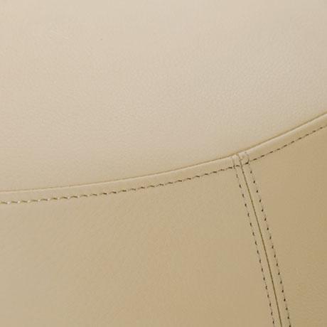 Contemporary Cream Italian Leather Round Ottoman, Bensen For Sale - Image 3 of 5