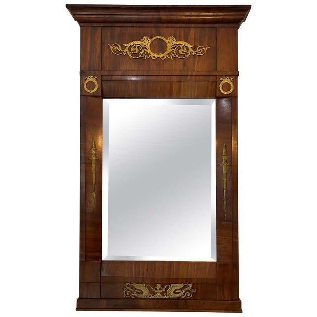 French Empire Mahogany Trumeau Mirror 1810-1820 Antique With Original Mirror For Sale - Image 10 of 11