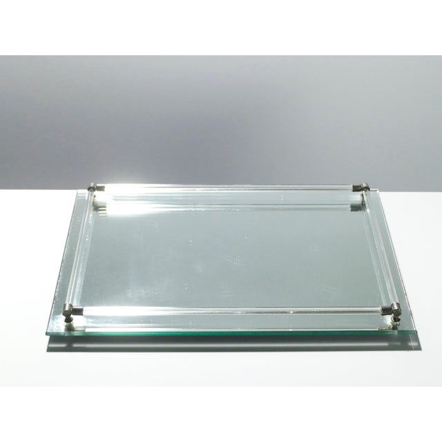 Mid-Century Modern French Midcentury Mirrored Tray Style of Jacques Adnet, 1940s For Sale - Image 3 of 5