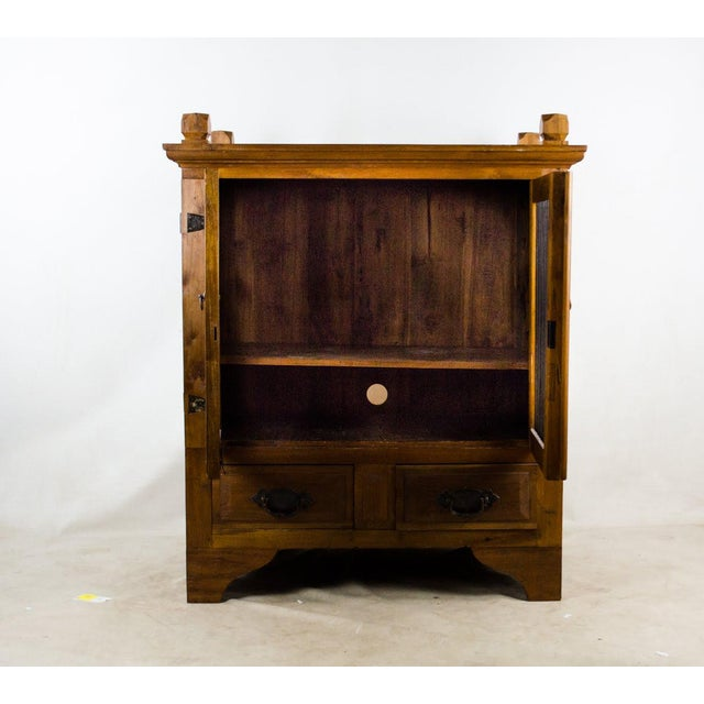 Vintage Indonesian Double Hinged Iron and Teak Cabinet For Sale - Image 4 of 13