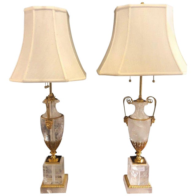 Pair of Palatial Gilt Gold and Rock Crystal Urn Form Table Lamps For Sale