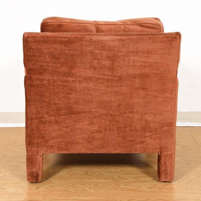 Metal Copper Crushed-Velvet Upholstered Club Chair For Sale - Image 7 of 10