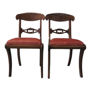 Pair Regency Style Parlor Chairs Red Upholstery For Sale