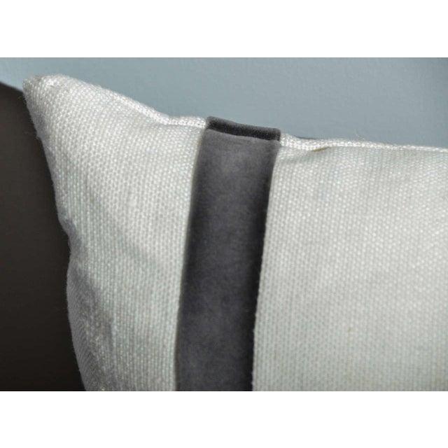 Cream Linen Pillow With Gray Velvet Stripe - Image 3 of 3