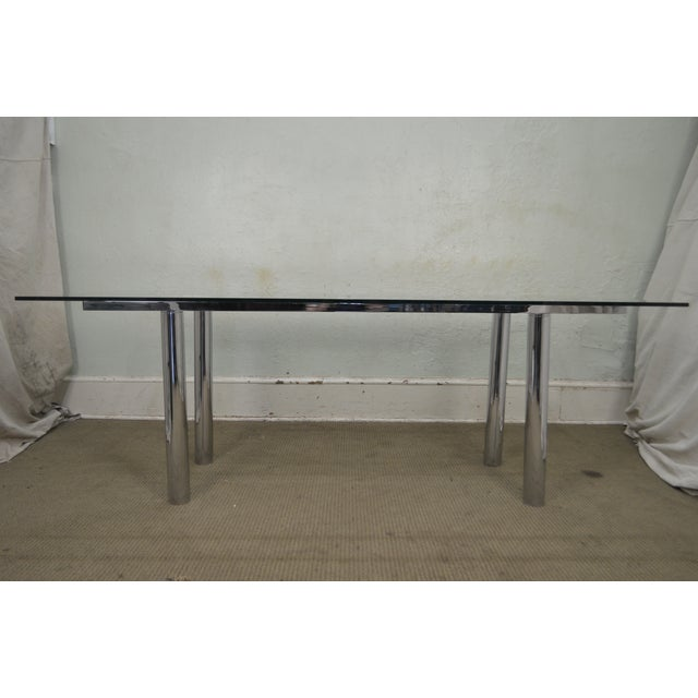 Mid Century Modern Chrome Base Rectangular Glass Top Dining Table For Sale - Image 10 of 13