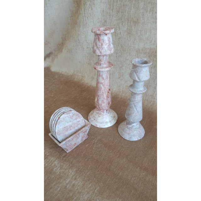Vintage Pink Onyx Marble Candle Holders and Coaster Set - Image 2 of 13