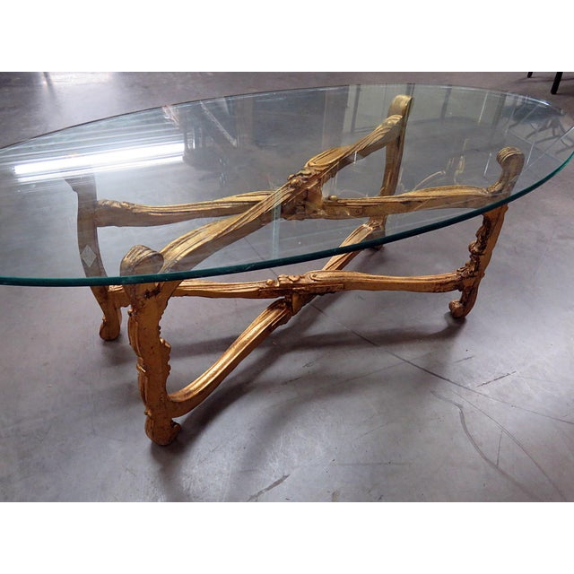 Wood Hollywood Regency Glass Top Coffee Table For Sale - Image 7 of 9