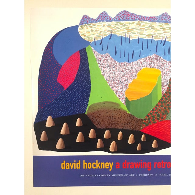 This vintage 1996 original lithograph print LACMA exhibition David Hockney Pop Art poster is a very special and unique...