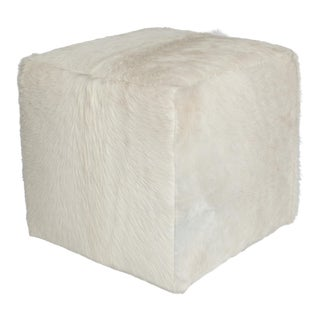 Natural White Cube Ottoman For Sale