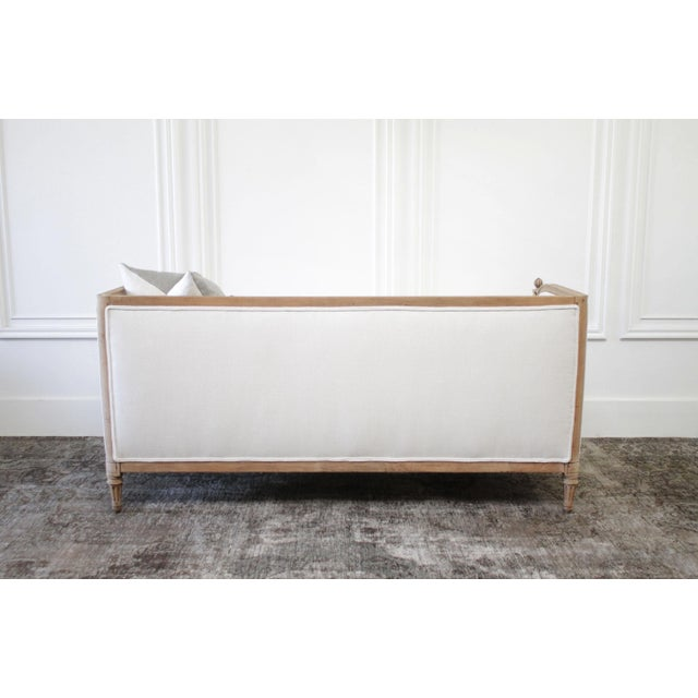 Antique Louis XVI Sofa Bleached Oak and Natural Linen For Sale - Image 10 of 12