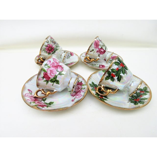 1960s Japanese Lusterware Flower of the Month Demitasse Cups and Saucers - Set of 4 For Sale - Image 6 of 12