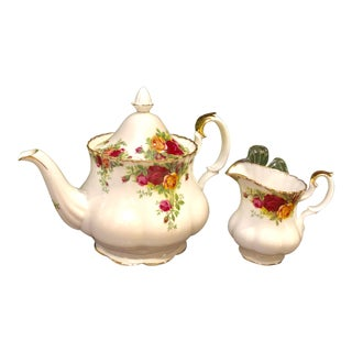 1960s Royal Albert Old Country Rose Teapot and Creamer With Gold Edge and Pink Roses - 2 Pieces For Sale
