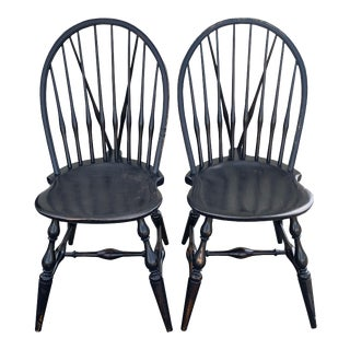 Pair Antique Black Painted Windsor Chairs Farmhouse Black Bowed Brace Back Windsor Chairs For Sale