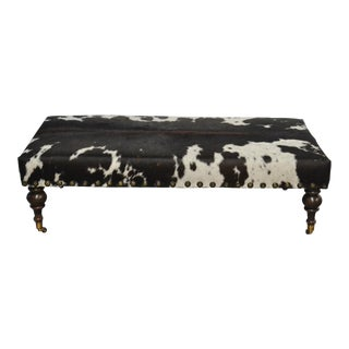 Modern Hair on Hide Ottoman With Nails For Sale