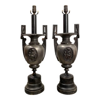 Pewter Urn Lamps - a Pair For Sale