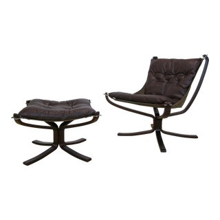 "1970s Mid Century Sigurd Ressell for Vante Mobler Norway ""Falcon"" Chair + Ottoman For Sale"