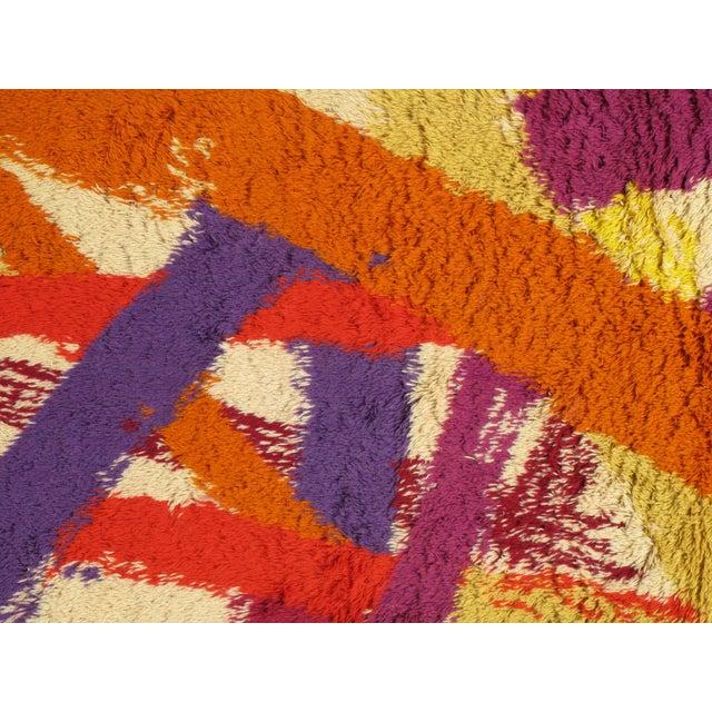 "Orange Vintage Swedish Rya Carpet - 4'6"" x 6'5"" For Sale - Image 8 of 9"